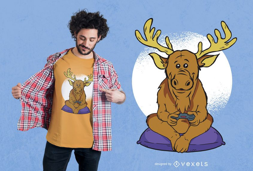 Elk Video Games Design de Camisetas