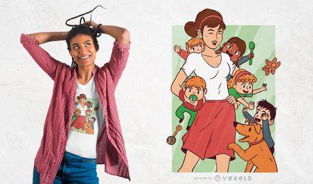 Kindermädchen-Chaos-T-Shirt Entwurf
