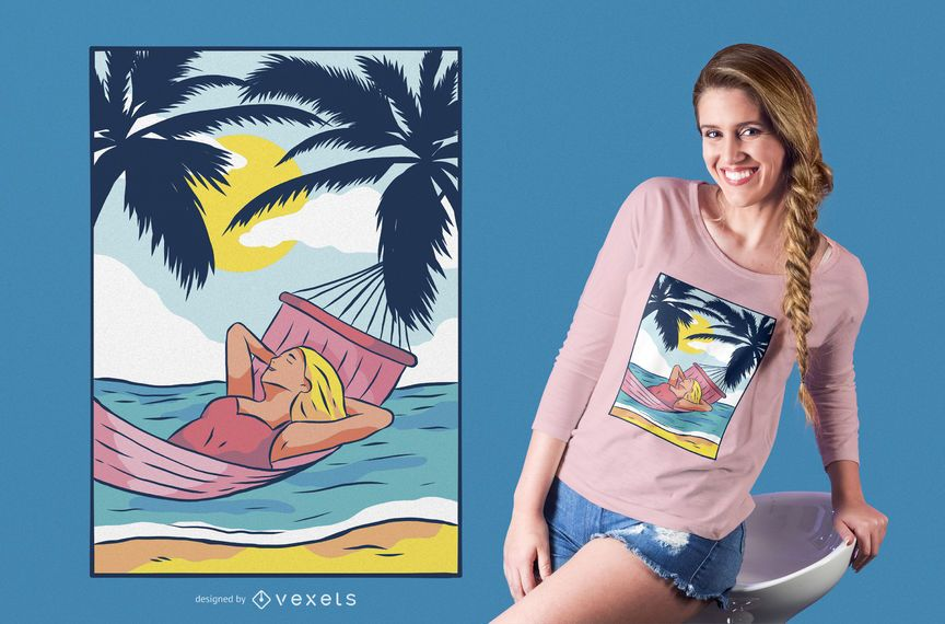 Diseño de camiseta de mujer hamaca