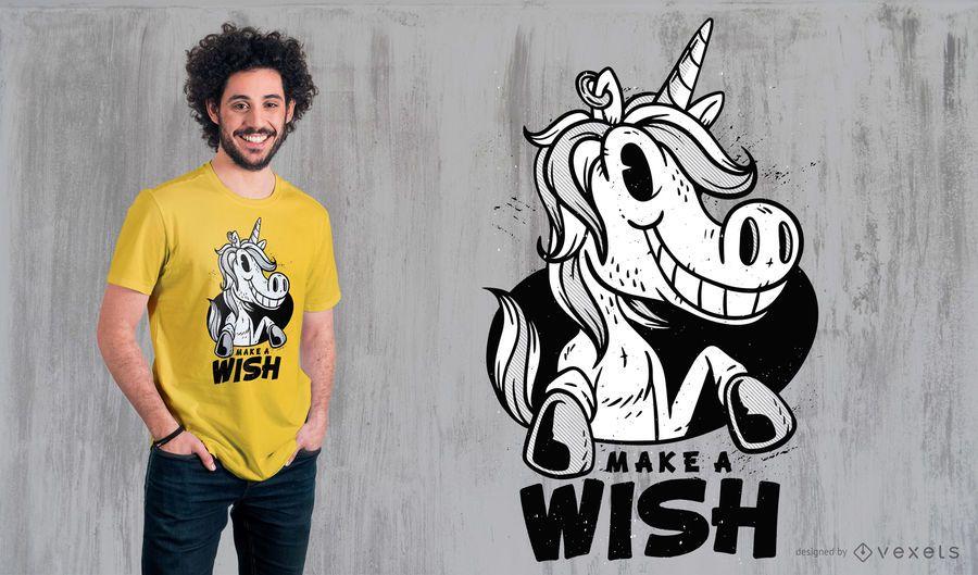 Diseño de camiseta Unicorn Make a Wish