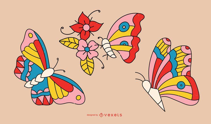 Diseño de línea de tatuaje de mariposa