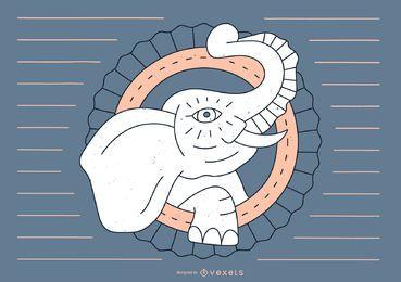 Design de linha de tatuagem de elefante