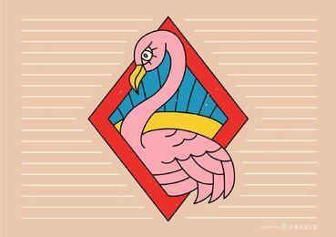 Diseño de línea de tatuaje de flamenco