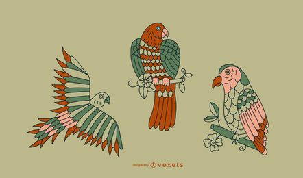Design de linha de tatuagem de papagaio vintage