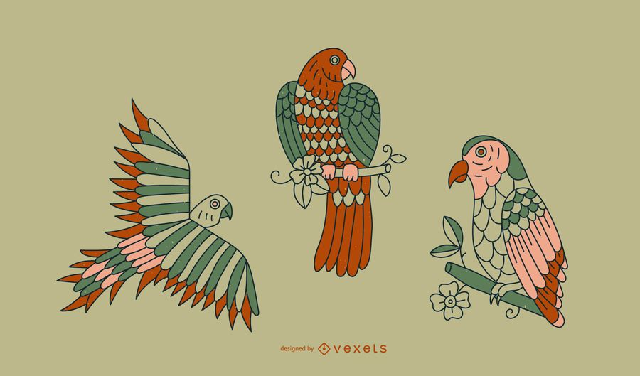 Vintage Papagei Tattoo Linie Design