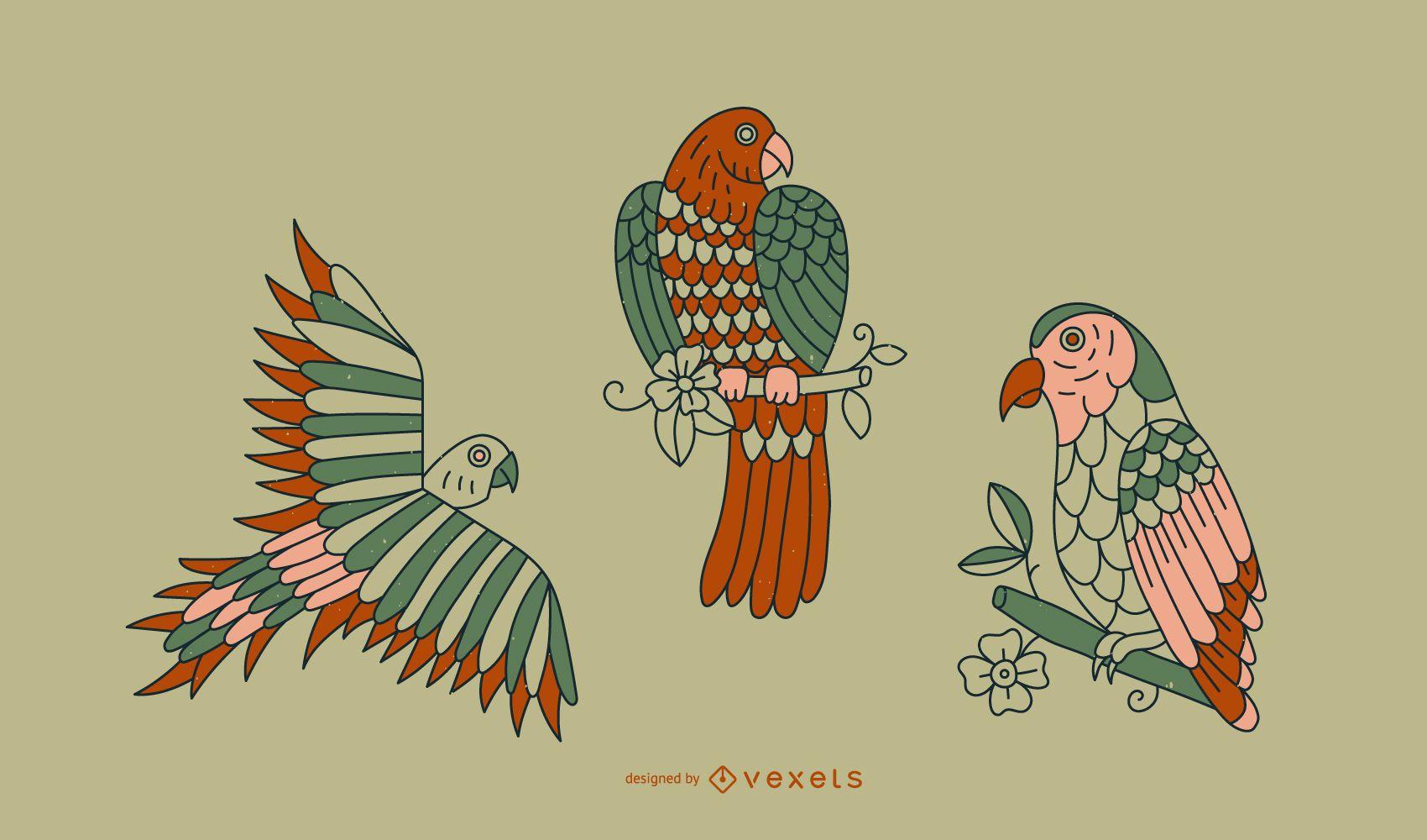 Diseño de línea de tatuaje de loro vintage