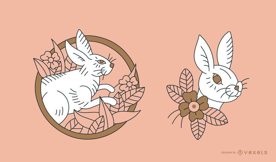 Diseño de línea de tatuaje de conejo