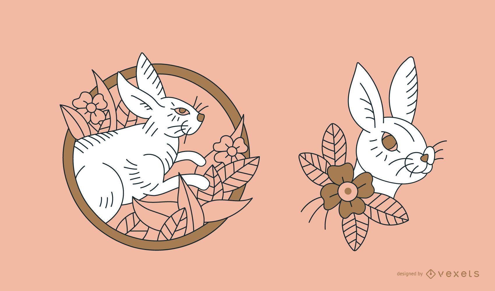 Rabbit Tattoo Line Design