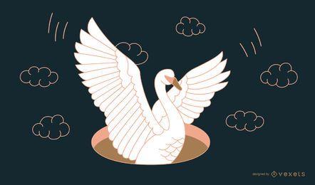 Diseño de línea de tatuaje de cisne