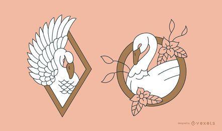 Schwan Tattoo Line Design