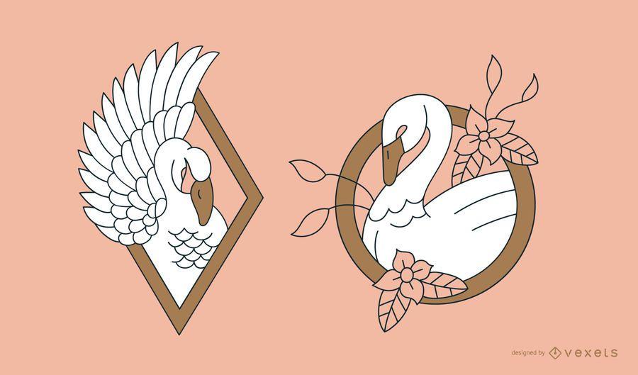 Design de linha de tatuagem de cisne