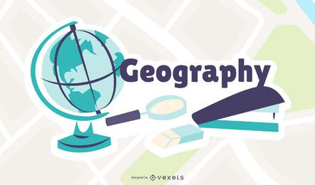 Geografie-Karikatur-Illustration