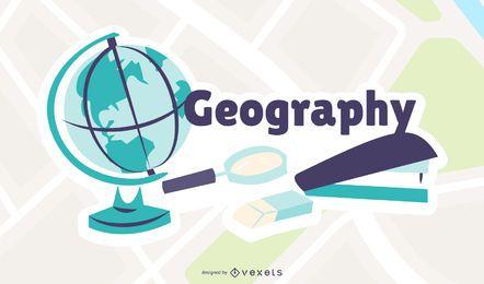 Ilustração dos desenhos animados de geografia