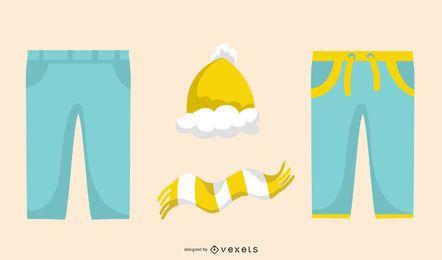 Bunter Kleidungs-Vektor-Satz