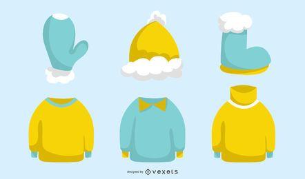 Conjunto de vetores de roupas de inverno