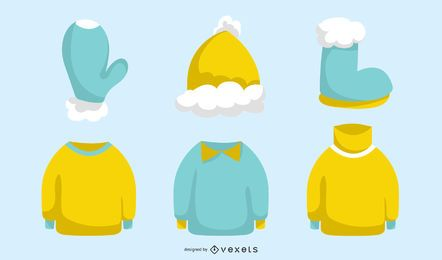 Winter Clothes Vector Set