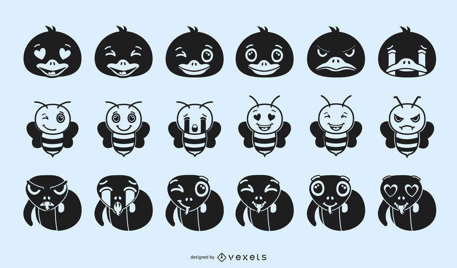 Animal Emoji Silhouette Design