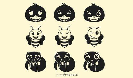 Conjunto de Emoji de animais preto e branco