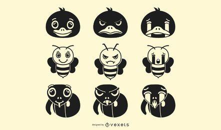 Animals emoji silhouettes set