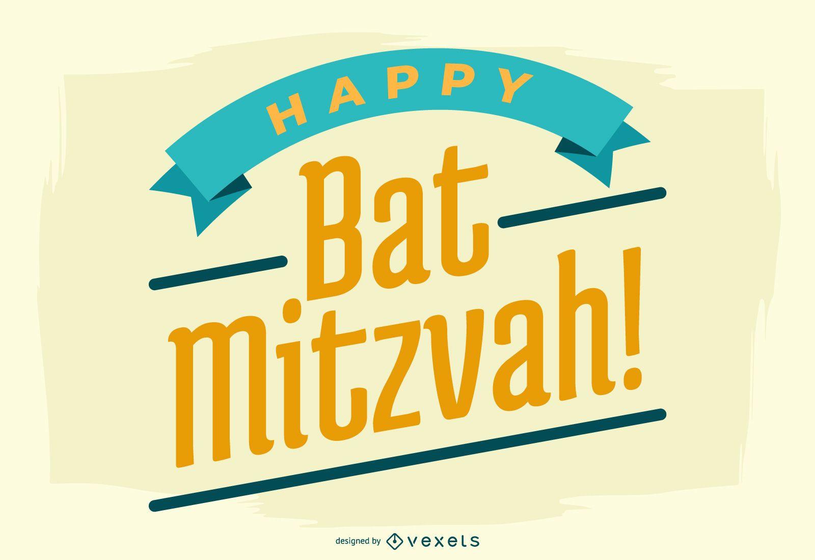 Happy Bat Mitzvah Lettering