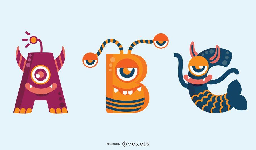 Conjunto de abc de alfabeto monstro