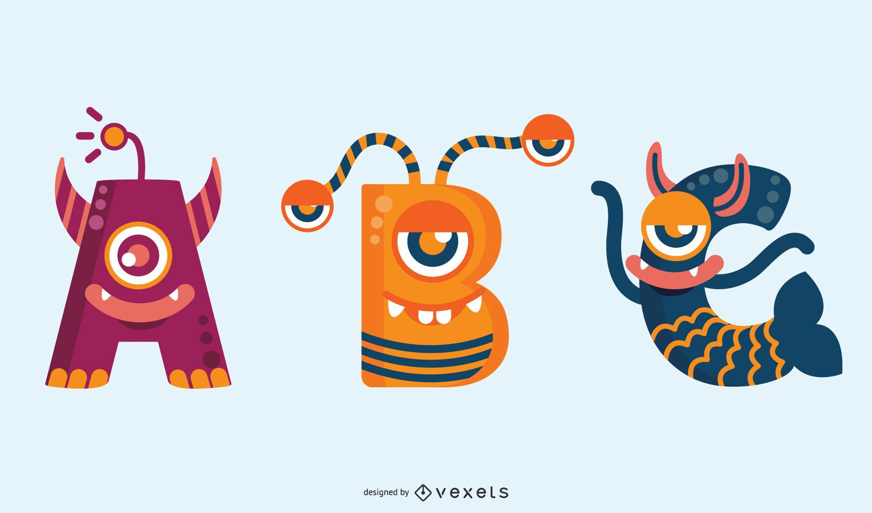 Conjunto de abc alfabeto monstruo