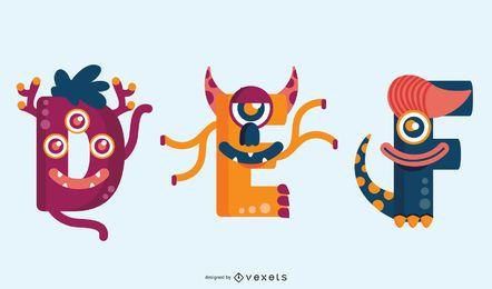 Monster Buchstaben Set DEF