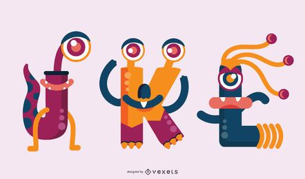 Monster Buchstaben Set JKL