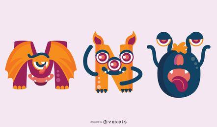 Conjunto de mno de alfabeto monstro