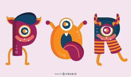 Ilustración de letras de monstruo PQR