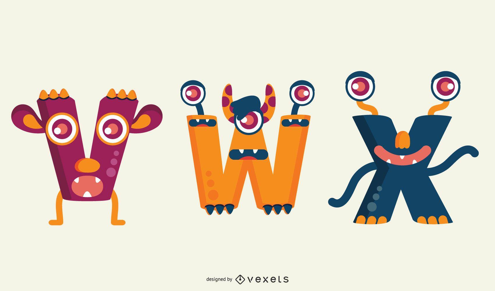 Ilustración de letras de monstruo