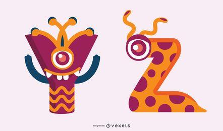 Conjunto de alfabeto monstro yz