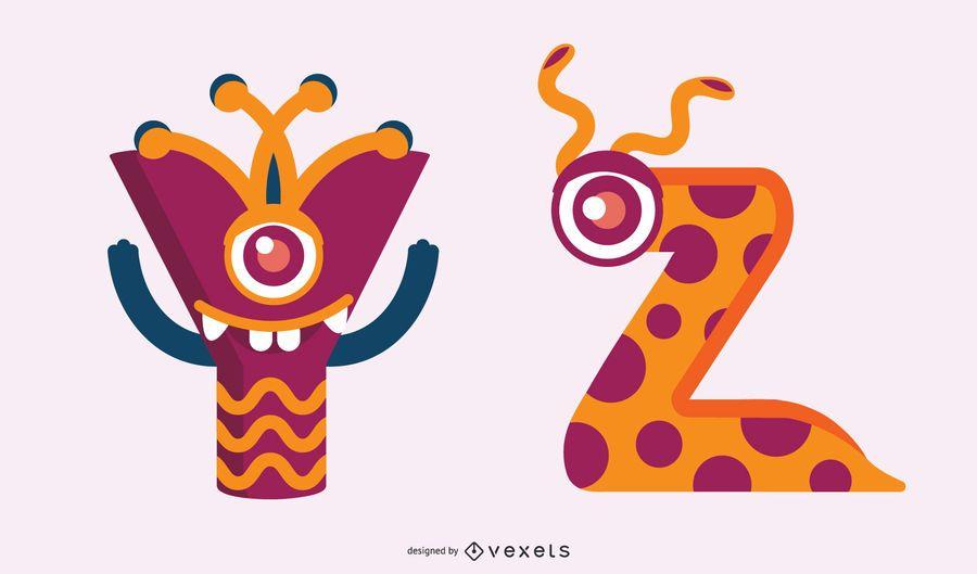 Conjunto de yz alfabeto monstro