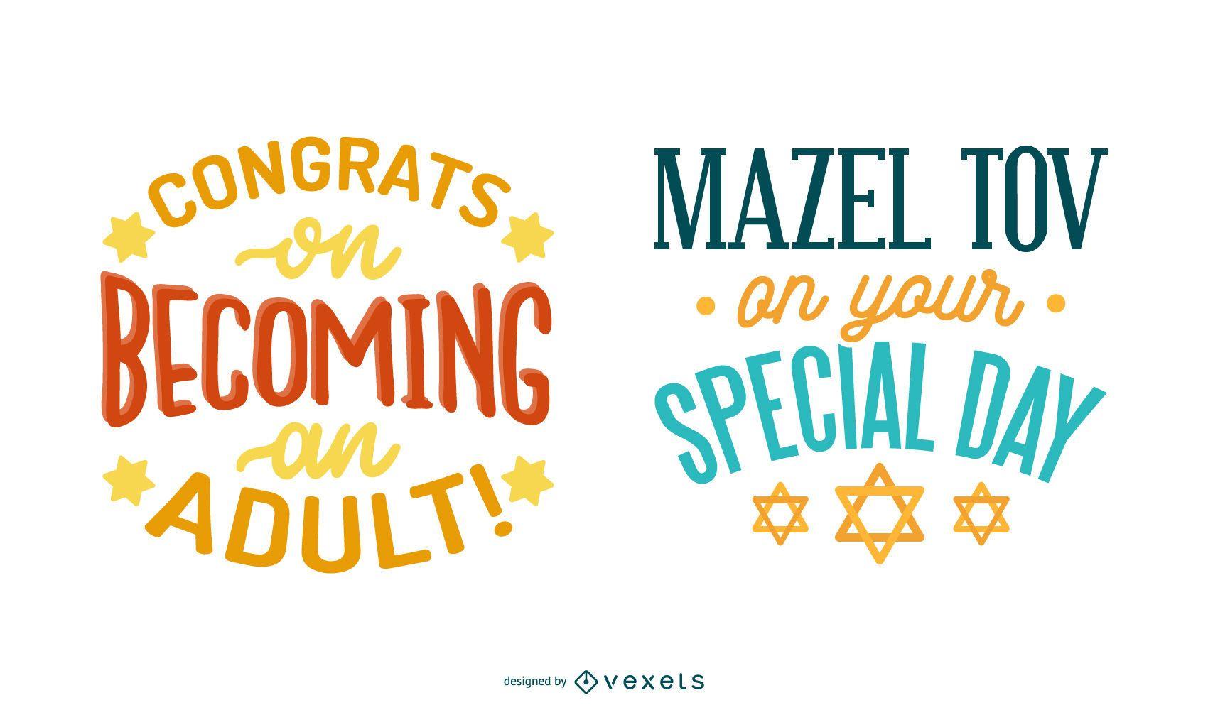 Bar mitzvah lettering set