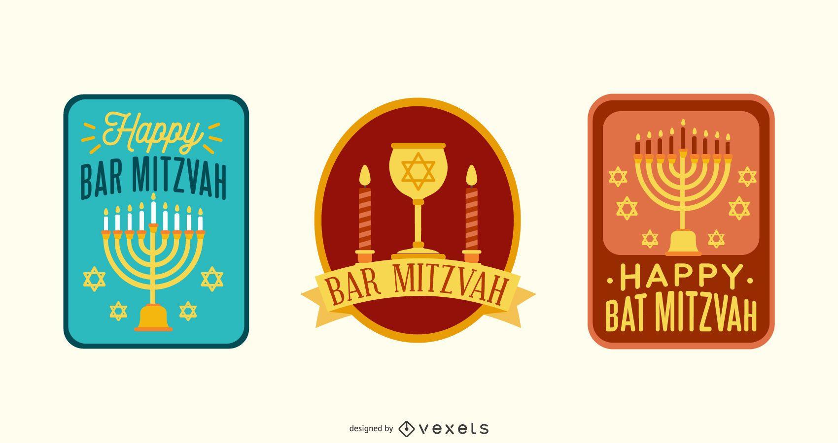 BAR MITZVAH Lettering Design Set