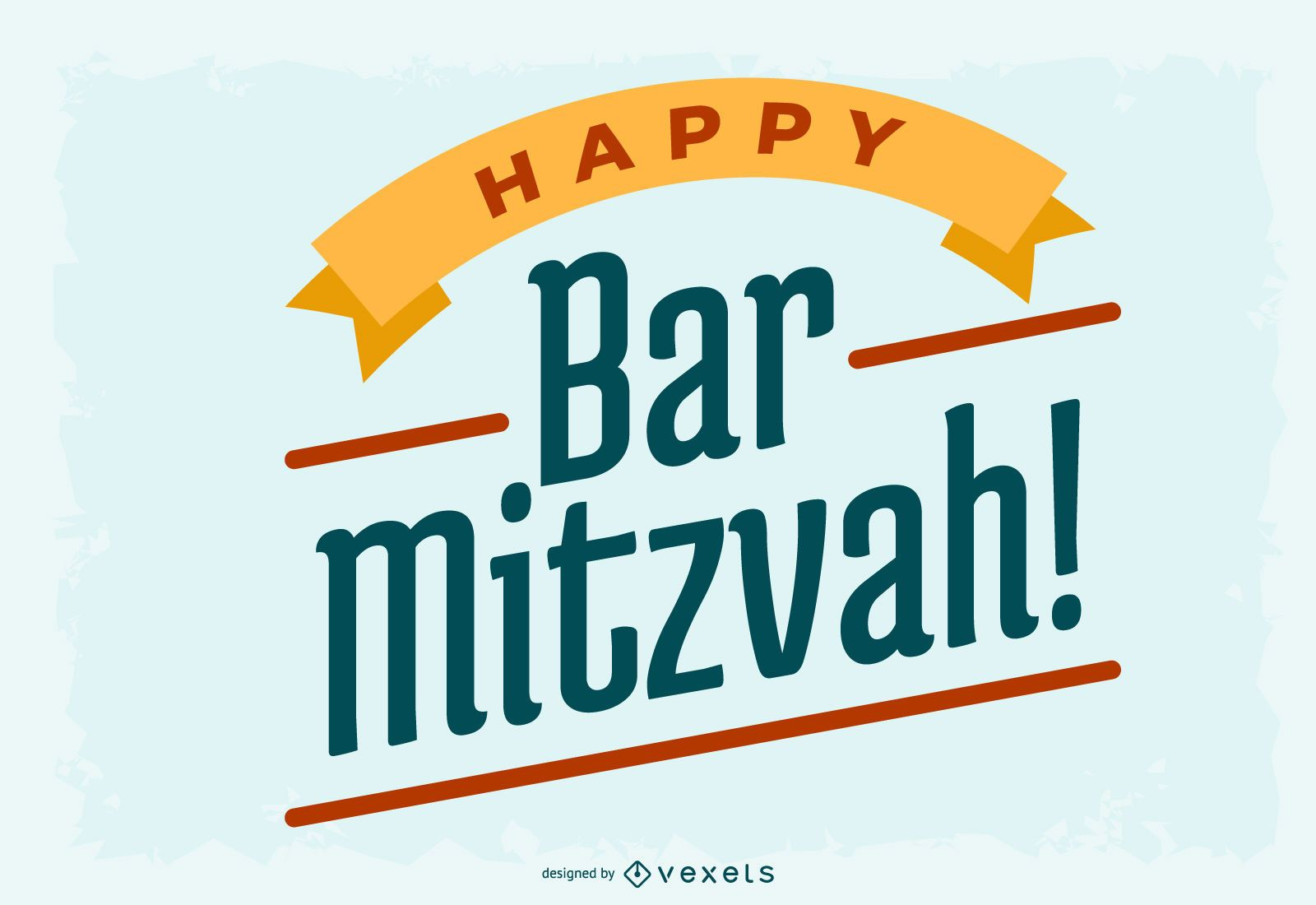 Happy Bar Mitzvah Lettering Design