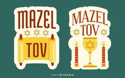 Ilustrações de emblema de Mazel Tov