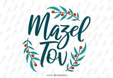 Diseño vectorial de letras Mazel Tov