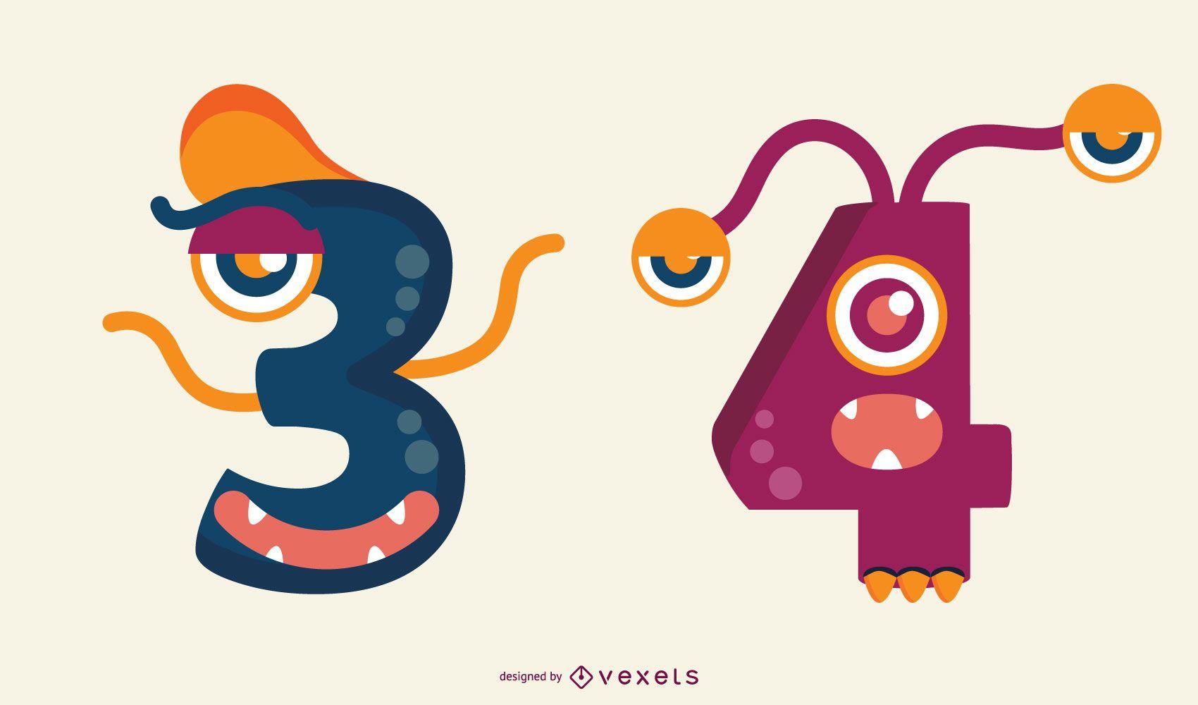 Conjunto de números Monster 3 y 4