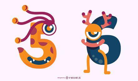 Conjunto de números de monstro 5 e 6