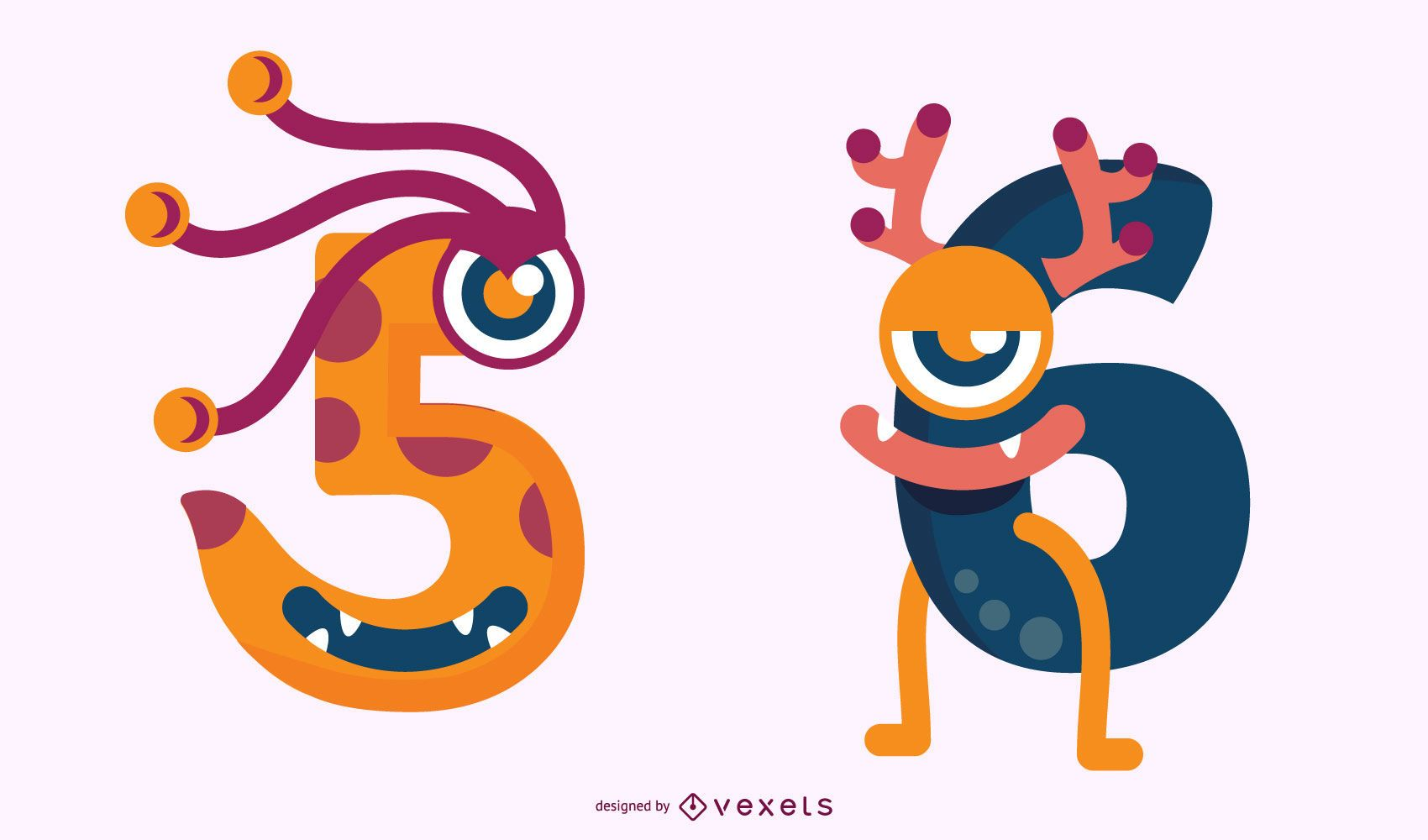 Monster 5 and 6 Number Set