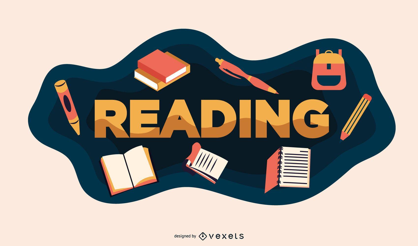 Reading school illustration
