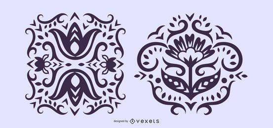Ilustrações escandinavas florais da silhueta