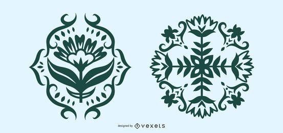 Conjunto de silueta floral de arte popular escandinavo