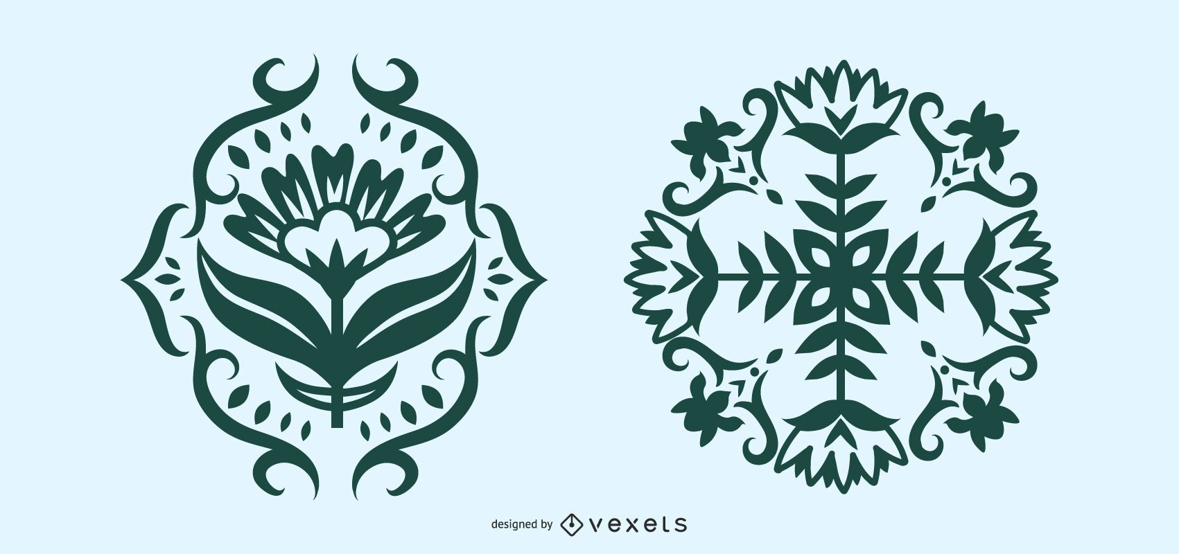 Scandinavian Folk Art Floral Silhouette Set