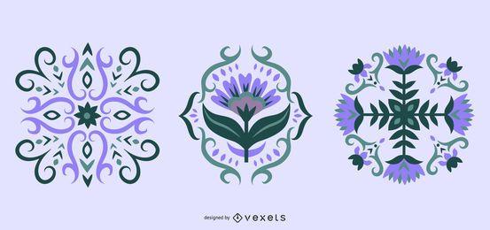 Coleção de ilustração escandinava floral