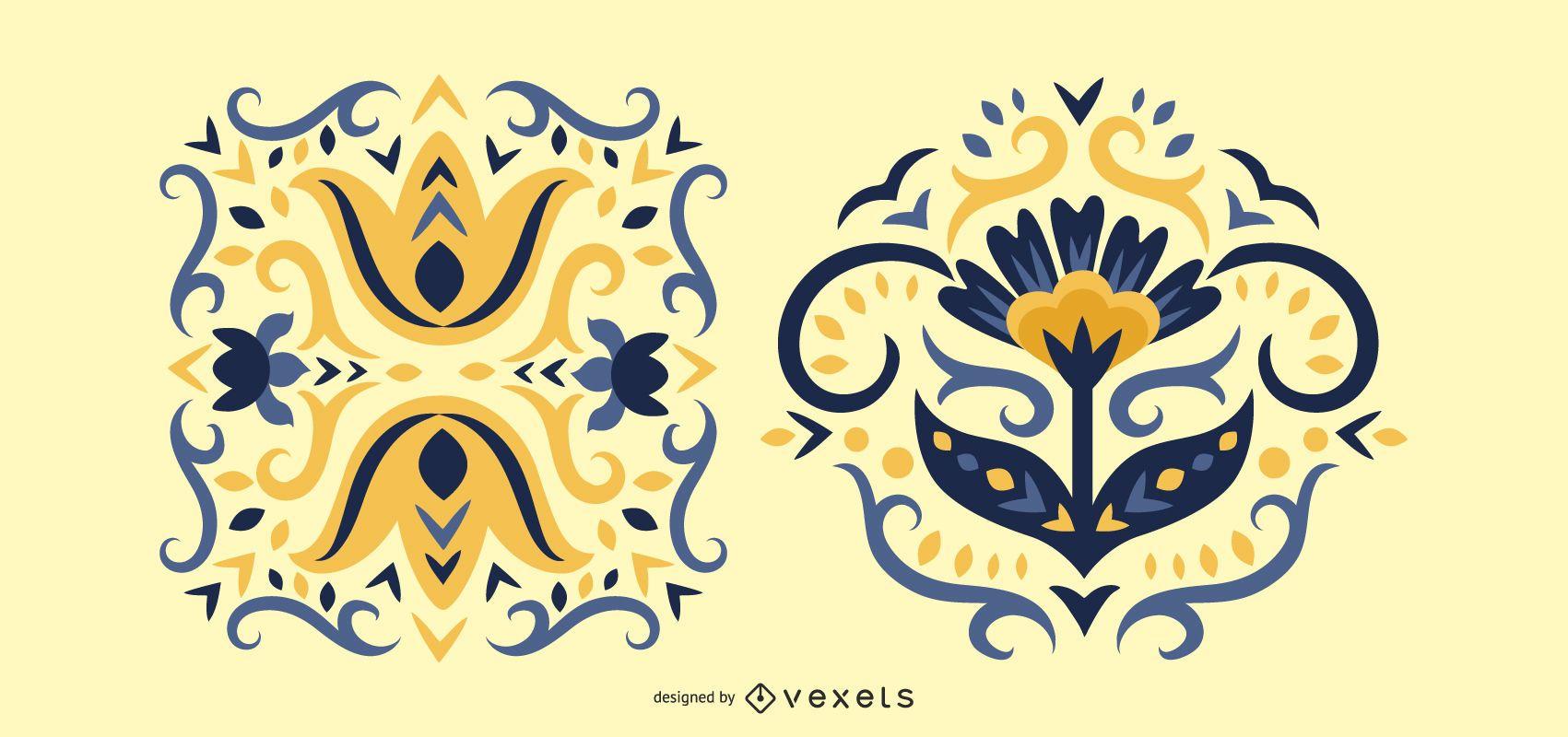 Scandinavian Folk Art Flowers Decoration Set