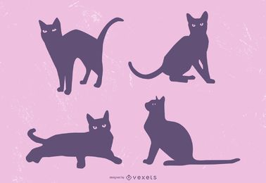Cute Black Cat Silhouette Illustration