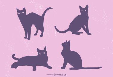 Nette schwarze Katzen-Schattenbild-Illustration