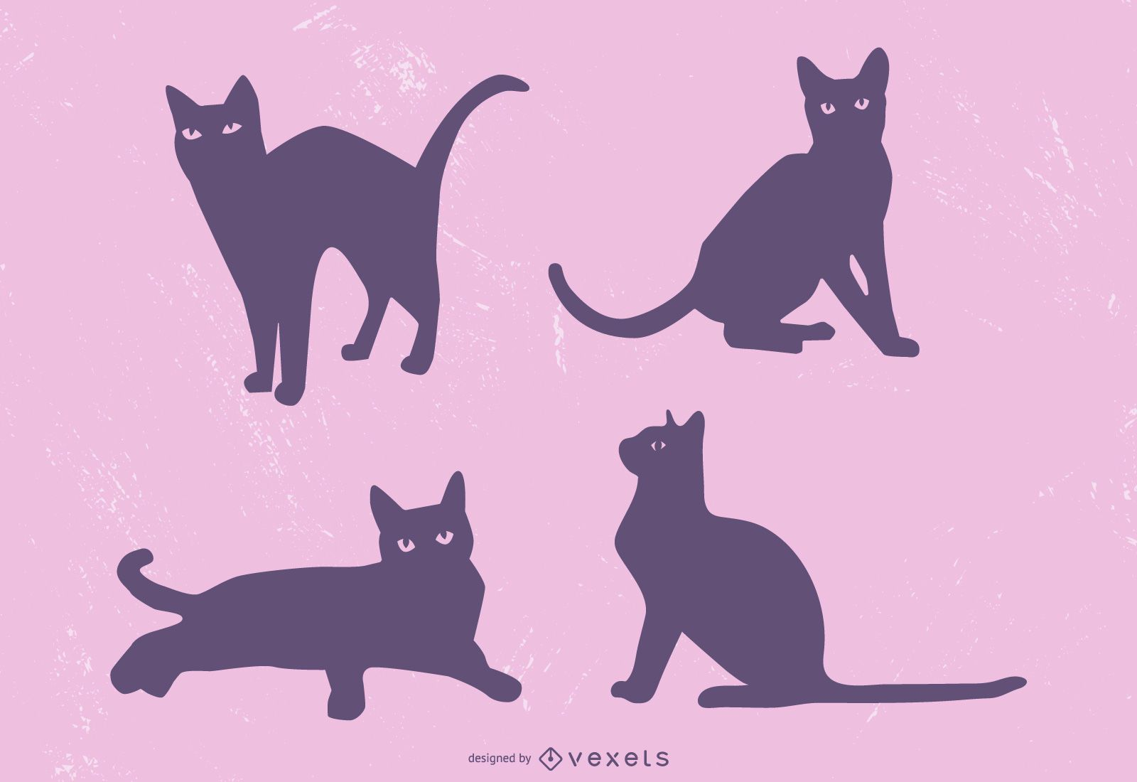 Ilustración linda silueta de gato negro